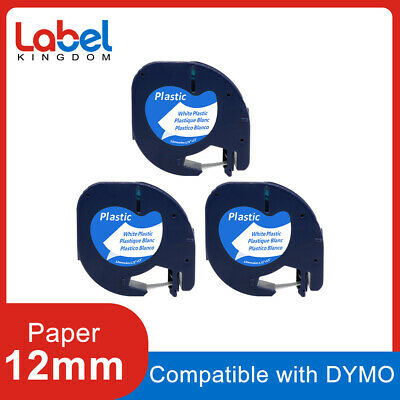 3pk 91331 Label Tape Compatible Dymo Letratag Refill Black On White Plastic 12mm