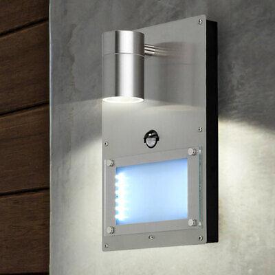 Lámpara De Pared LED Plata Número Casa Sensor Movimiento Acero Jardín Exterior