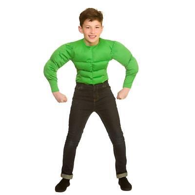 Green Hulk Muscle Chest Shirt Muscleman Boys Childs Fancy Dress Costume Top - Hulk Boys Costume