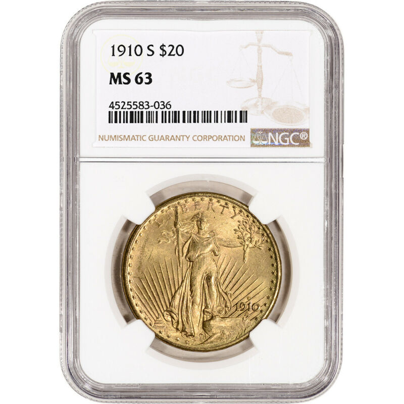 1910-S US Gold $20 Saint-Gaudens Double Eagle - NGC MS63