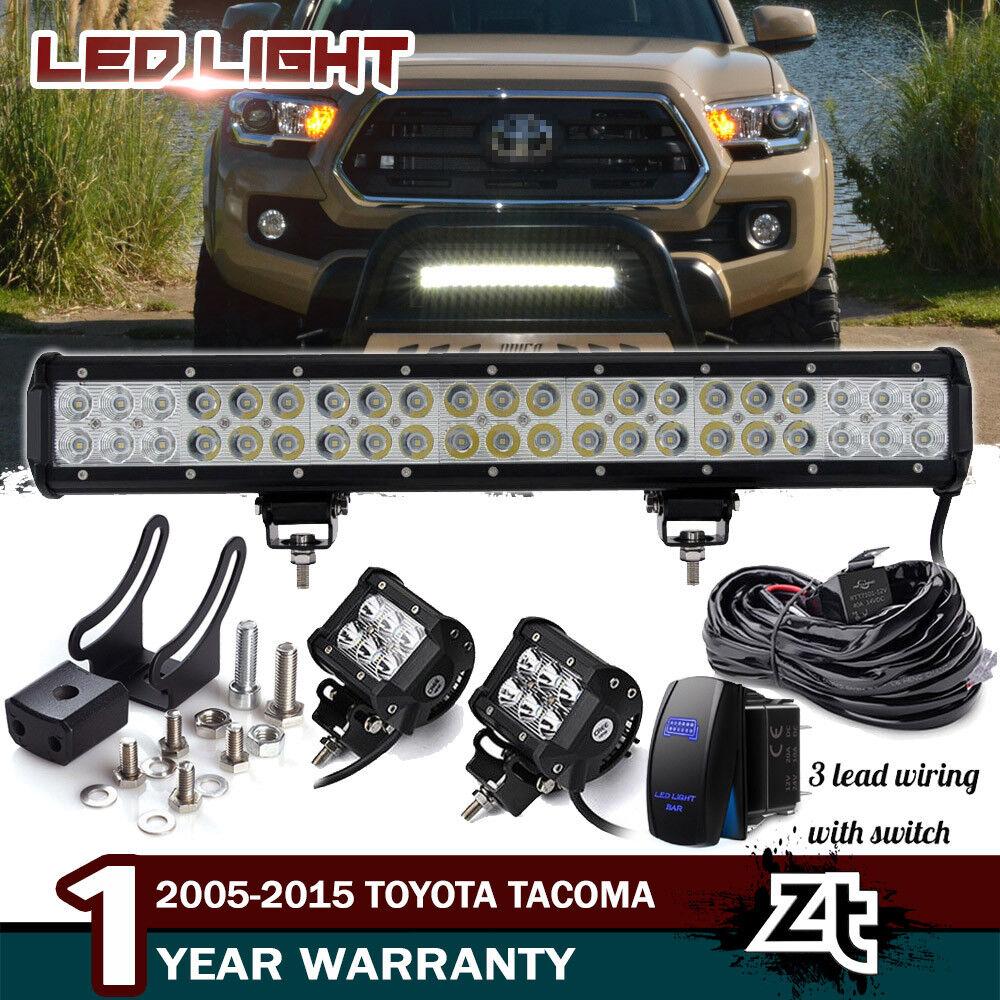 "20/"" 126W Led Light Bar For Toyota Tacoma 05-15 Front Bull Bar Bumper Grill Guard"