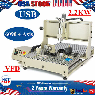 Usb 6090 4 Axis Cnc Router Engraving Mill Engraver Vfd Woodworking Machine 2.2kw