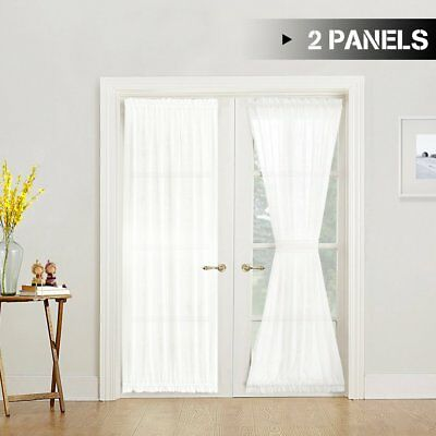 jinchan White Sheer French Door Panels Privacy 2 Panels Line