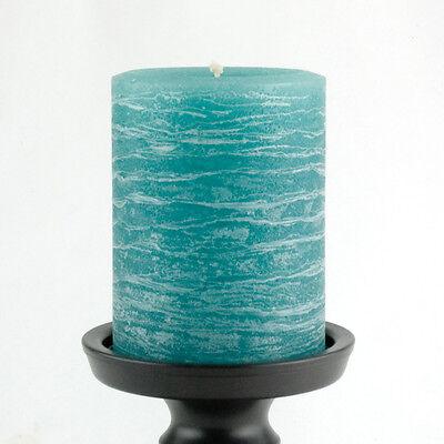 Teal Pillar Candle - Rustic 3x4