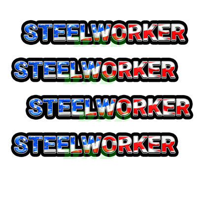 Steelworker Us Flag Lunch Box Hard Hat Tool Box Helmet Sticker 4 Pack 3 Inch