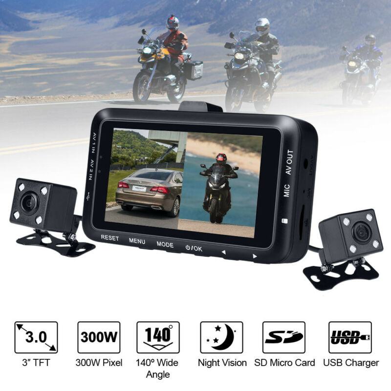 """3"""" LCD Waterproof Motorcycle DVR HD Action Camera Dual Lens 1080P Video Recorder"""