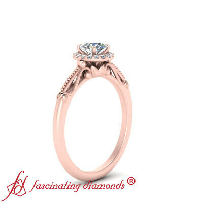 Rose Gold Vintage Halo Womens Engagement Ring With 0.90 Carat Round Cut Diamond 2