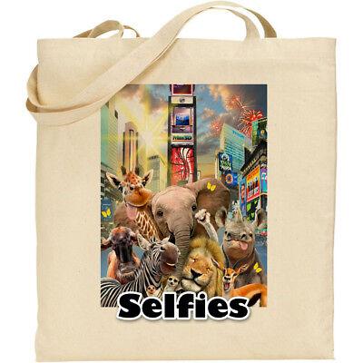 Safari Animals Times Square H Robinson Selfie Reusable Cotton Shopping/Tote/Bag