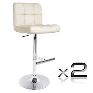 Set of 2 PU Leather Kitchen Bar Stool Beige North Melbourne Melbourne City Preview
