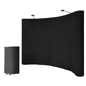 10' Black Portable Pop Up Display Kit w/ Spotlights for Trade Show Booth Exhibit