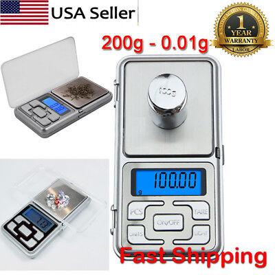 Portable 0.01g - 200g Mini Digital Scale Jewelry Pocket Balance Weight Gram LCD