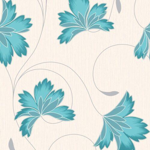 Crown Flourish Designer Feature Floral Wallpaper Azure Blue Cream M0565