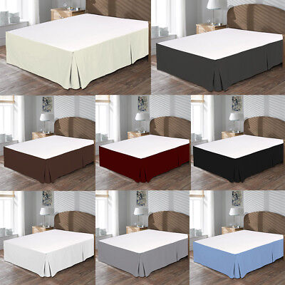 MISR Linen Solid Box Pleated BedSkirt Egyptian Cotton 400 Thread Count 21 Inches ()