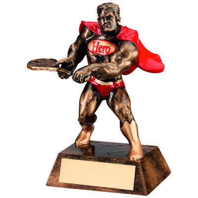 Tennis Super Hero Cape Award Fun Novelty Gifts Sport Trophy - FREE Engraving