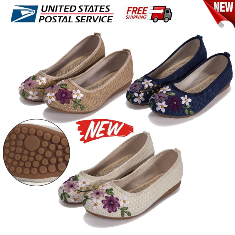 Womens Shoes Embroidered Chinese Style Flats Ballet Crafts Non-slip Shoes Syf Us
