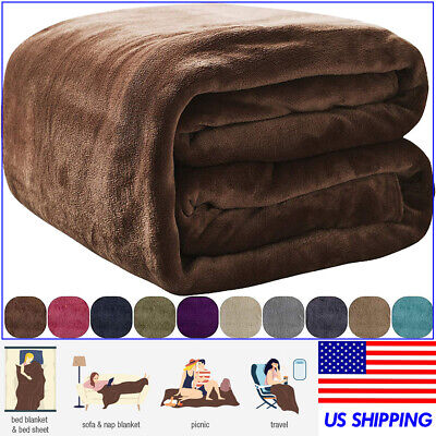 VEEYOO Flannel Fleece Blanket Soft Microfiber Plush Warm Bed Sofa Throw Blanket Plush Microfiber Sofa
