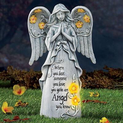 Outdoor Solar Lighted Statue Memorial Angel Figurine Garden Wing Sculpture Decor ()