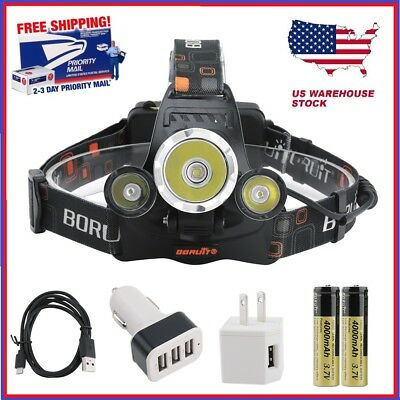 BORUiT 14000LM Headlamp XM-L 3x T6 LED Headlight 18650 Battery Light Charger USA