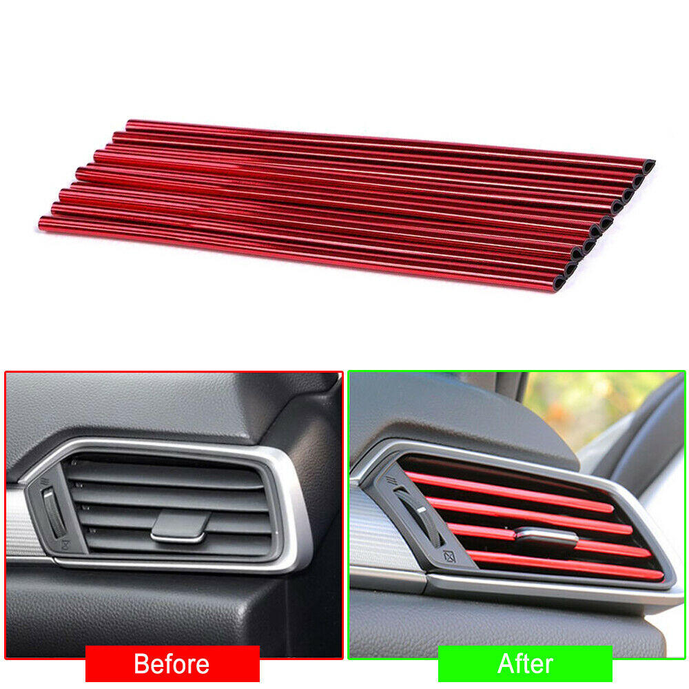 Red 10 Pcs/pack Auto Car Accessories Air Conditioner Air Outlet Decoration Strip