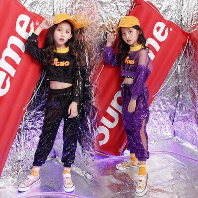 Mädchen Tanzkleidung Outfits Kinder Hip-Hop Tanzen Pailletten Kostüm Jazzdance (Tanzen Kostüm Hip Hop)