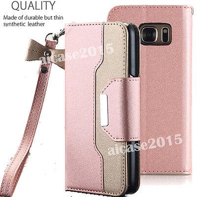 Rose Gold Case for Samsung Galaxy S7 EDGE Phone - Flip Wallet + (Matte Rose Gold)