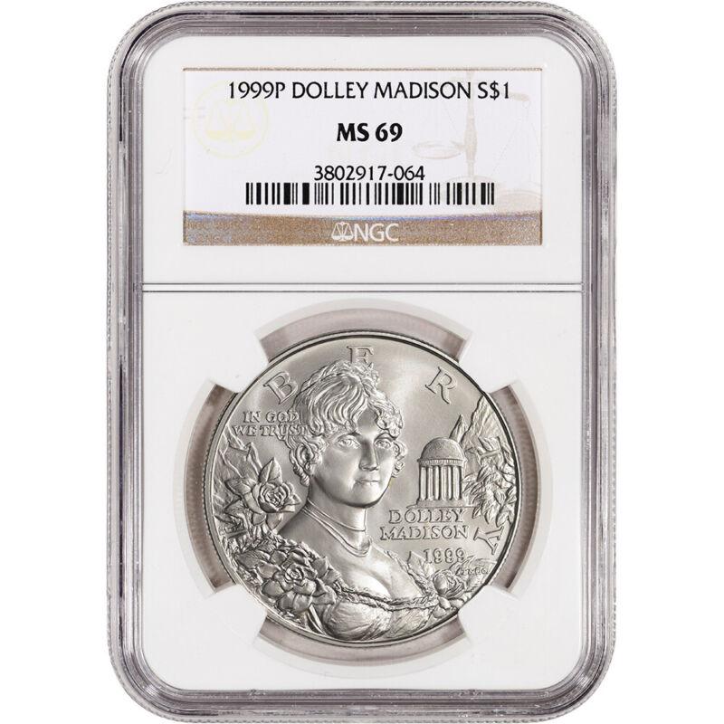 1999-P US Dolley Madison Commemorative BU Silver Dollar - NGC MS69