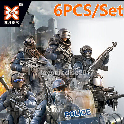 6PCS/Set Military Special SWAT Police Building Bricks Figures Educational - Police Building Set