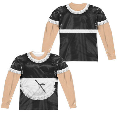 French Maid Halloween Costume Long Sleeve T-shirt Front & Back