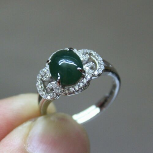 Size 6 CERTIFIED Natural JADE (Grade A) Icy Oily Green Jadeite S925 RING