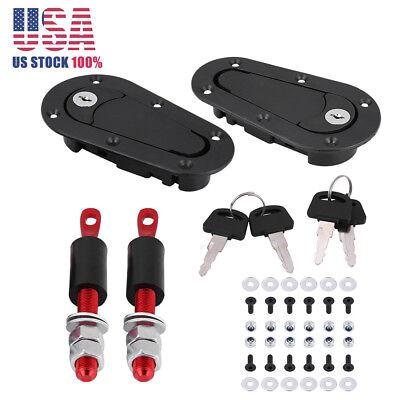 (JDM Carbon Fiber Hood Pin Plus Flush Mount latch Kit Lock Without Key Universal)