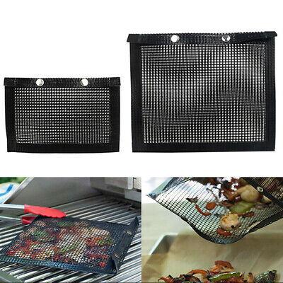 Non-Stick BBQ Mesh Grill Bag High Temperature Barbecue Baking Mat Pad AV