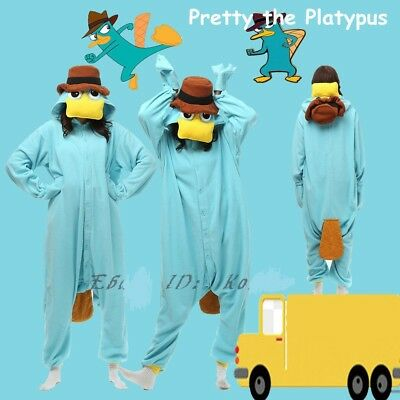 Perry the Platypus Kigurumi Pajamas Blue Jumpsui Nightgown Hot Halloween Costume