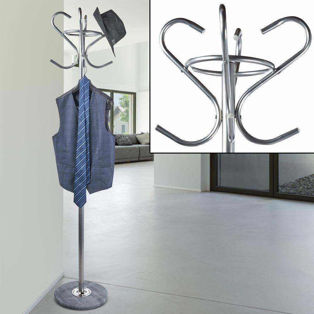 Landhaus Stil Kleider Ständer Stange Flur Garderobe 4x Haken Jacken Hut Ablage