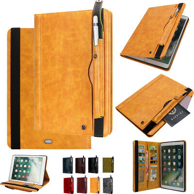For ipad 10.2'' 2019 Pro 11'' 2018 Premium Leather Case Cover Stand Card Classy