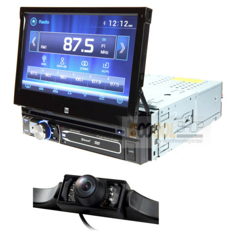 """DUAL Single DIN Bluetooth Car Stereo Receiver w/7"""" Flip Out Touchscreen & CAMERA"""
