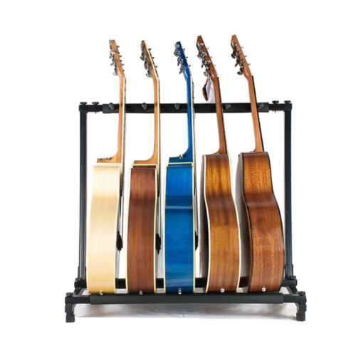 gorilla 5 way multi guitar stand foldable acoustic electric bass guitar rack ebay. Black Bedroom Furniture Sets. Home Design Ideas