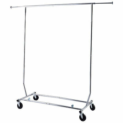 New Heavy Duty Commercial Clothing Hanger Garment Rolling Collapsible Rack
