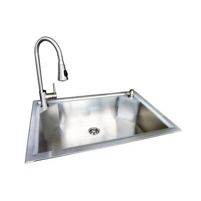 "Glacier Bay Dual Mount 33""x22""x9"" Stainless Steel 1 Hole Kitchen Sink w/Faucet"