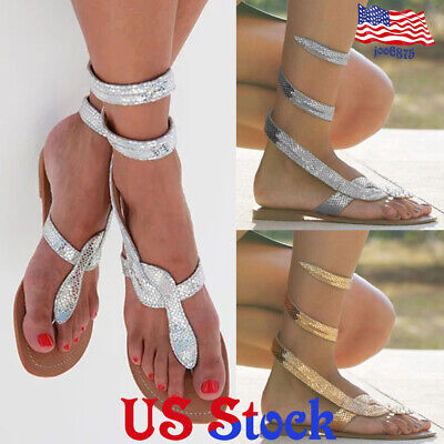 Serpentine Sandals Flat Thong Ankle Strap Casual Shoes Slip On Strappy Gladiator Ankle Strap Flat Thong