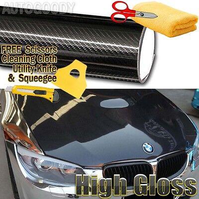 "84"" x 60"" Premium 5D HIGH GLOSS Black Carbon Fiber Vinyl Bubble Free Air Release"