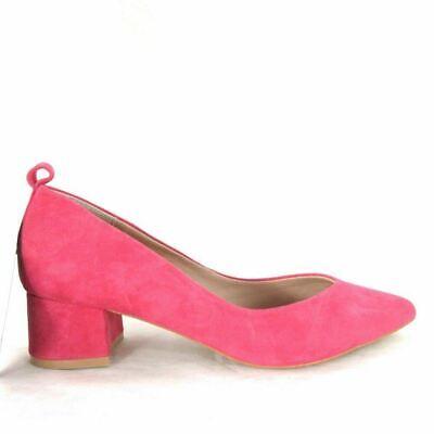 38 / US 8 - Anthropologie Fushia Pink Suede Block Pointed Heels NEW 0000MB