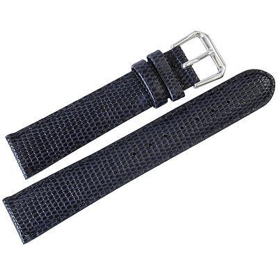19mm deBeer Mens Navy Blue Lizard-Grain Leather Watch Band Strap (Navy Leather Watch Strap)