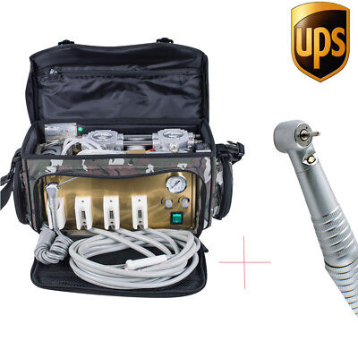 Portable Dental Turbine Unit 4 Hole Air Compressor Suction 3way Syringe Bag Usa