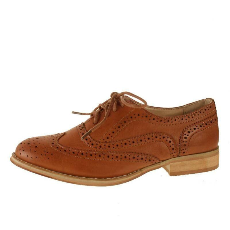 Womens Tan Leather Brogues