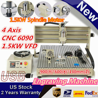 Usb 4-axis 1500w Vfd Cnc6090 Rrouter Engraver Engraving Milling Carving Machine