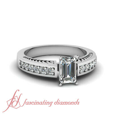 1.15 Ct GIA Certified Emerald Cut Diamond Linear Flakes Pave Set Engagement Ring
