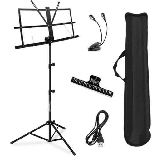 Music Stand, Portable Professional Orchestra Collapsible Set With Book Clip
