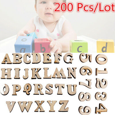 200 Pcs Small Wooden Wood Letters Name Numbers Kids Baby Ear
