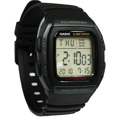 - Casio W96H-1BV, 50 Meter WR Chronograph Watch, Alarm, Black Resin Strap, Date