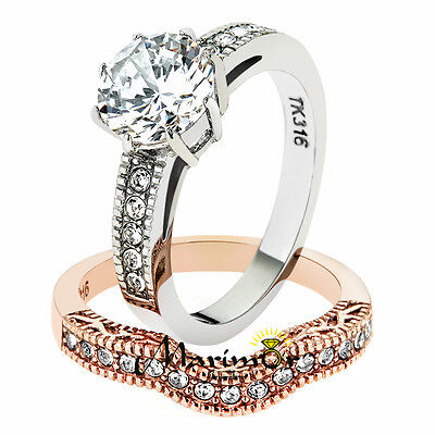 2.80 Ct Round Cut Zirconia Rose Gold IP Stainless Steel Wedding Ring Set Sz (Cut Rose Cubic Zirconia Ring)